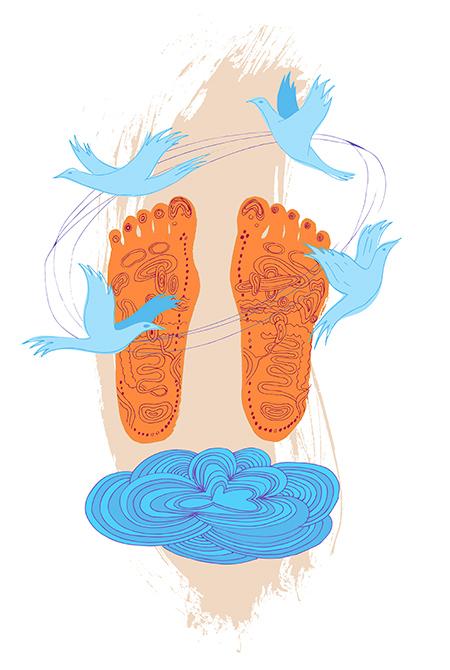 illustration, pieds, reflexologie, zones, corps, organes, esprit, paix, santé